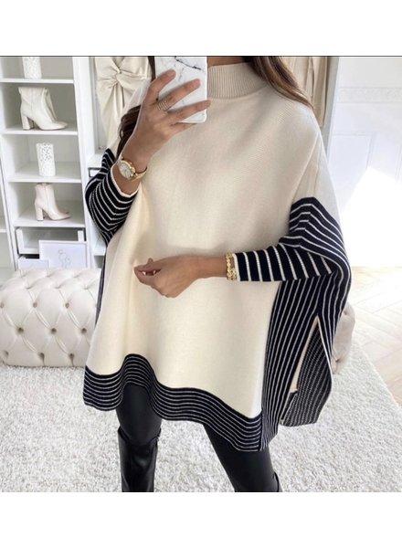 Oversized Striped Sweater - Beige