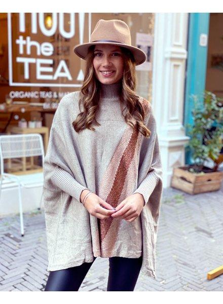 Oversized  Sparkle Sweater - Taupe
