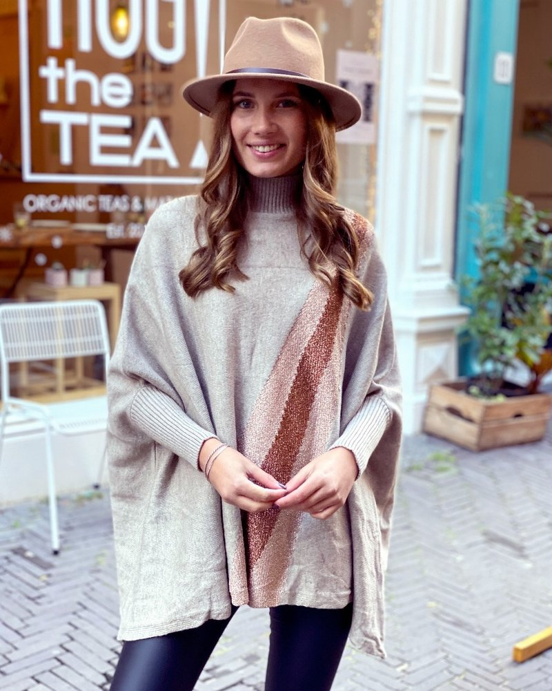 Oversized  Sparkle Sweater - Taupe