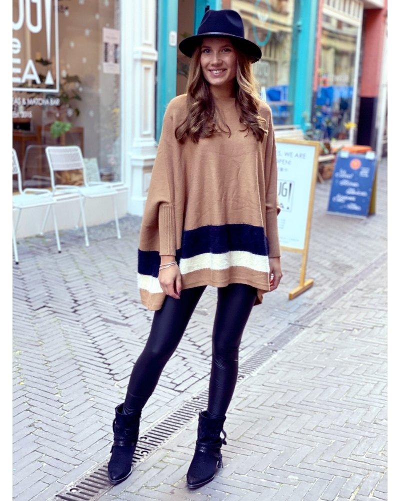 Oversized  Fuzzy Striped Sweater - Camel