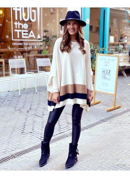 Oversized  Fuzzy Striped Sweater - Creme