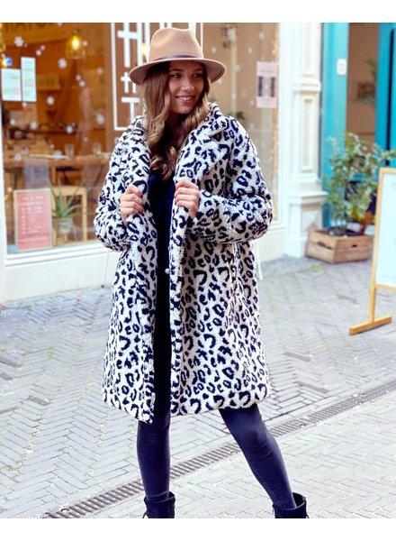 Teddy Leopard Coat - Ecru