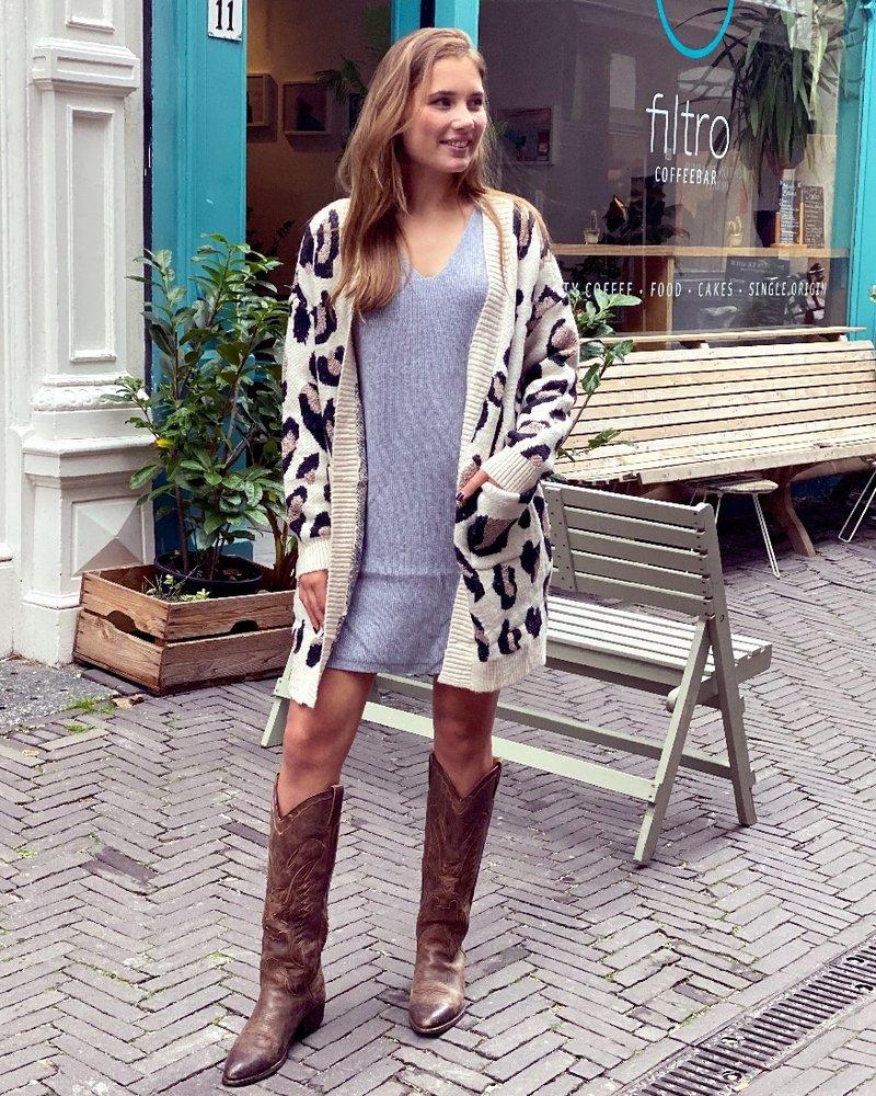 Cozy Leopard Vest - Beige