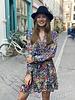 Short Flower Ruffle Dress - Blue