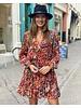 Short Flower Ruffle Dress - Red
