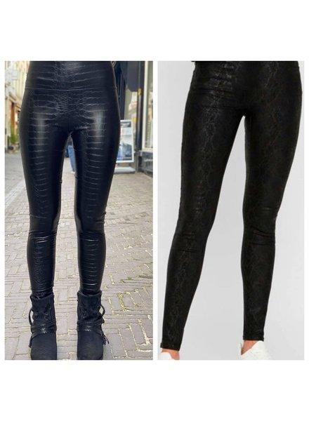Leather Snake Legging - Black