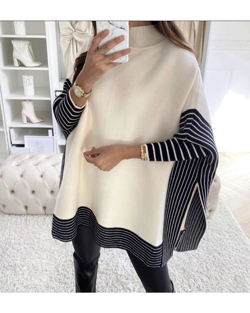 Oversized Striped Sweater - Black