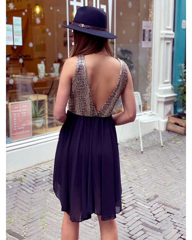Mila Party Dress - Gold / Black