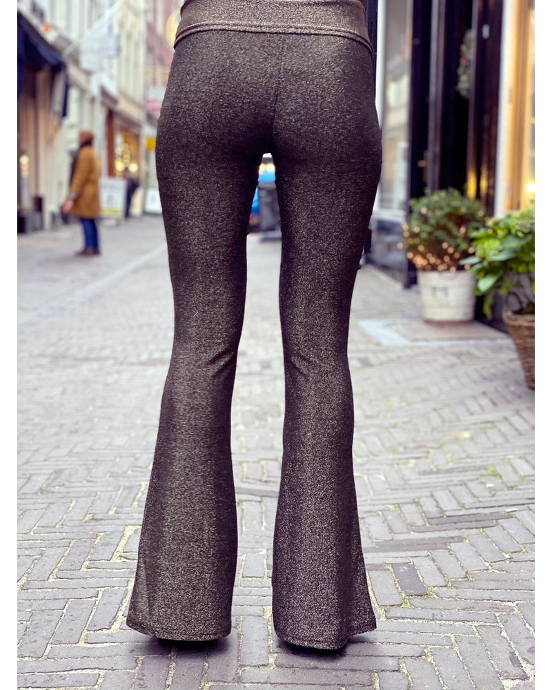 Perfect Glitter Flared Pants - Gold