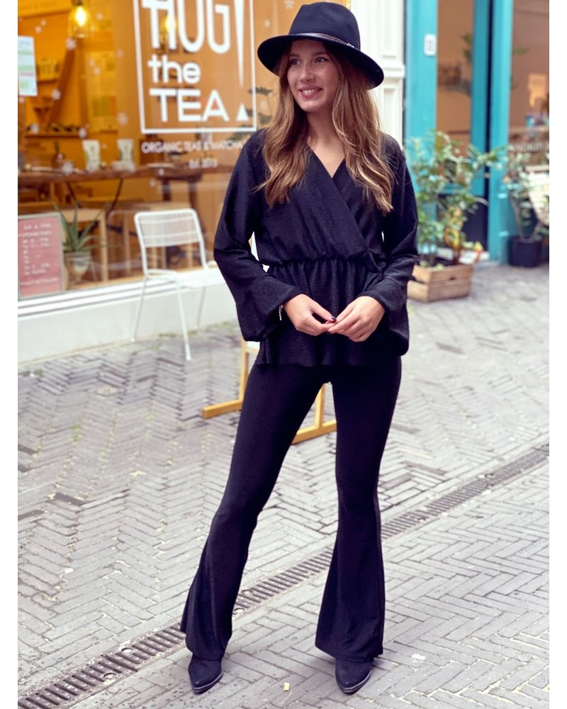 Perfect Glitter Flared Pants - Black