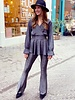 Perfect Glitter Flared Pants - Silver