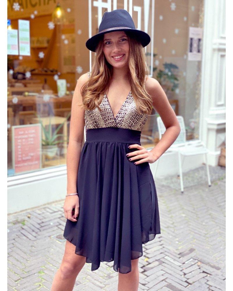 Mila Party Dress - Silver / Black