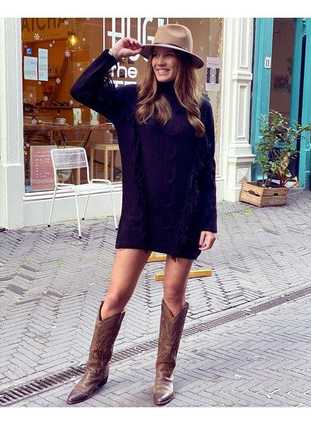 Col Fringe Sweater Dress - Black