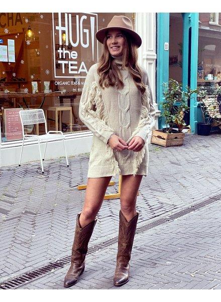Col Fringe Sweater Dress - Beige