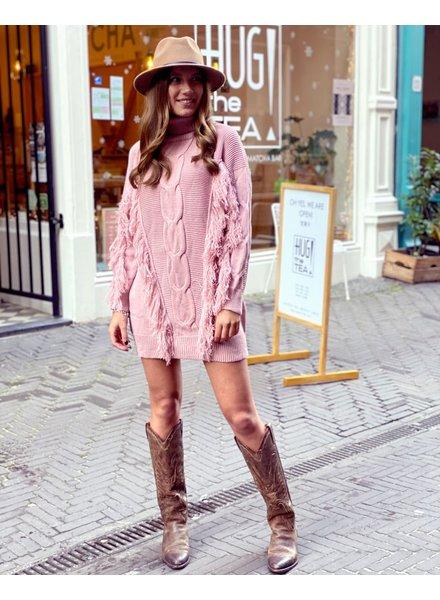 Col Fringe Sweater Dress - Light Pink