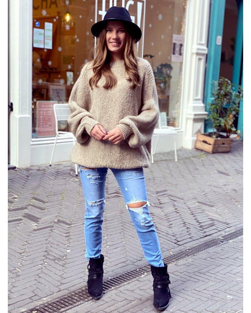 Cozy Round Neck Sweater - Taupe