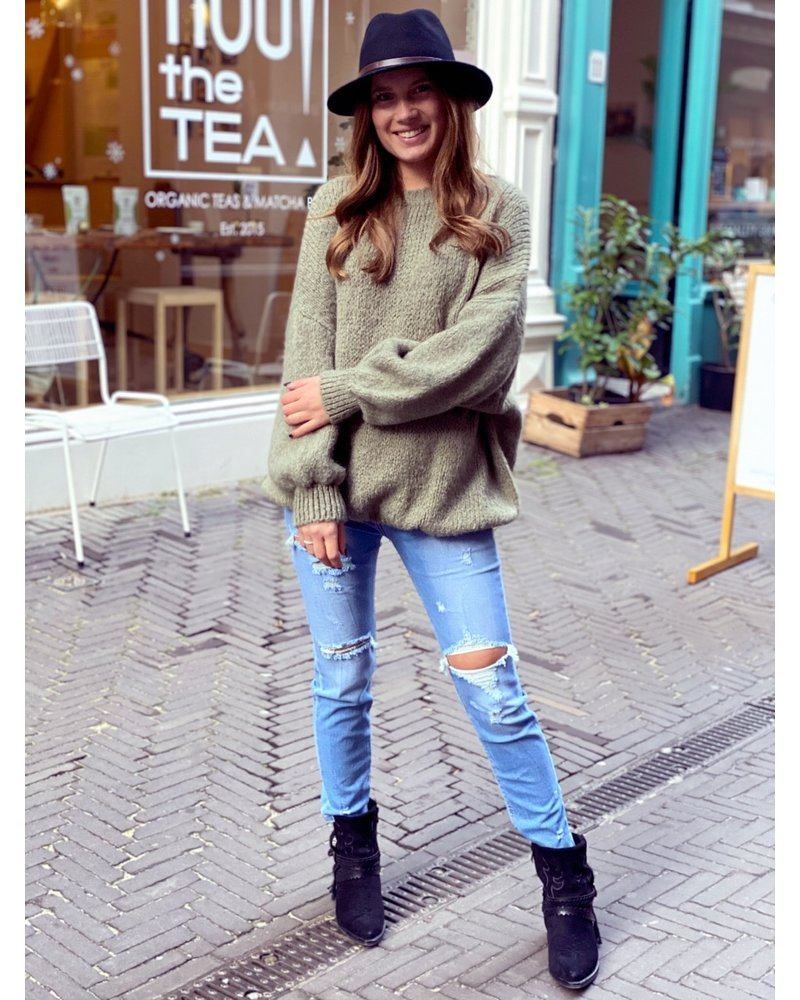 Cozy Round Neck Sweater - Olive Green