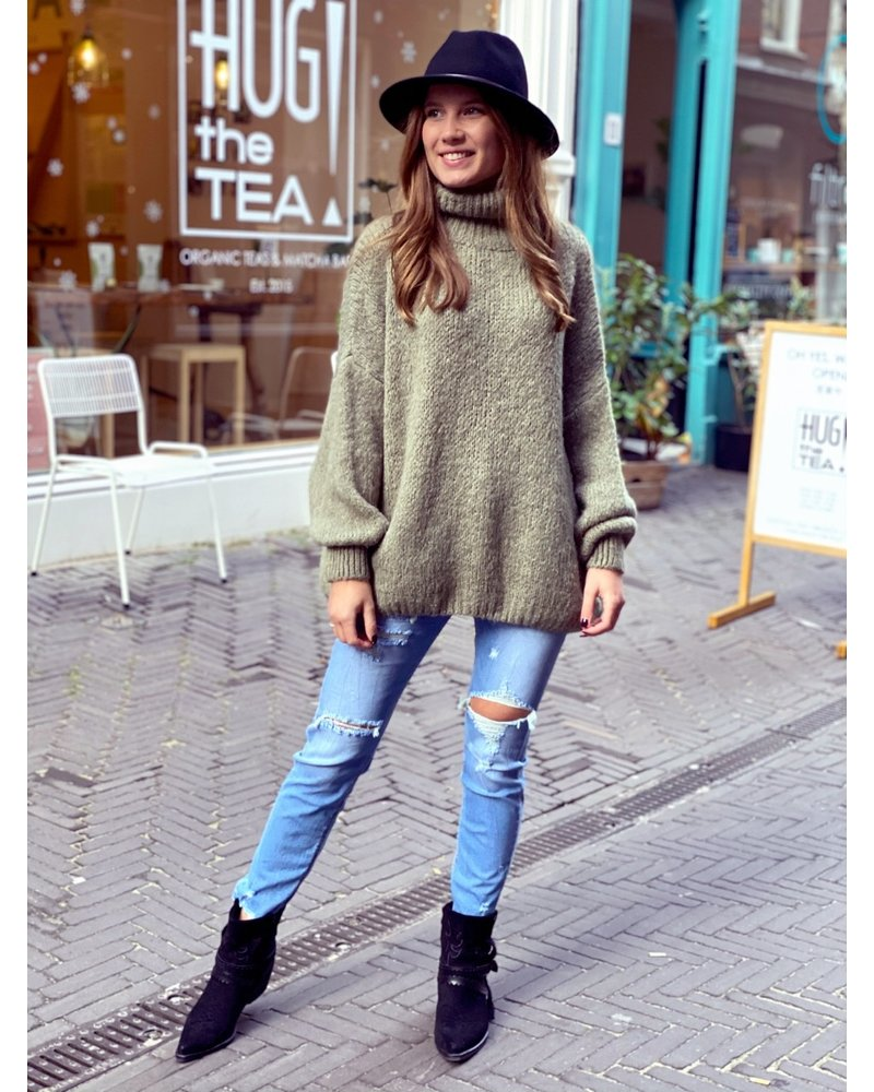 Cozy Col Sweater - Olive Green