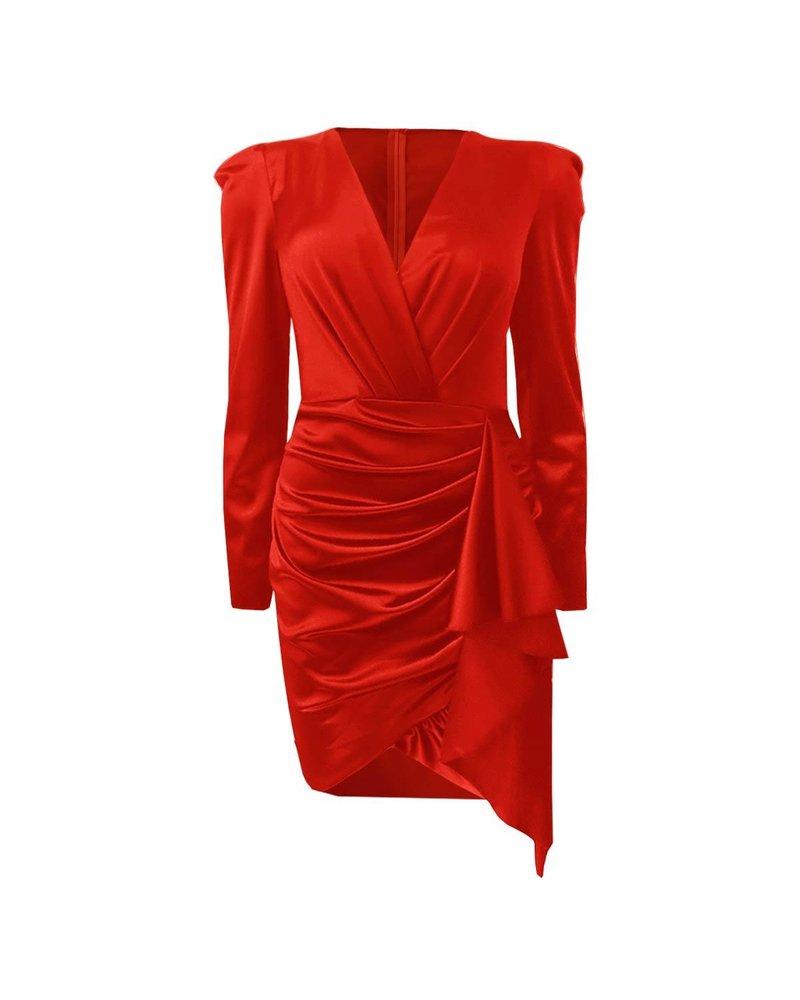 Satin V Neck Dress - Red