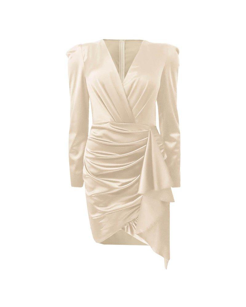 Satin V Neck Dress - Champaign
