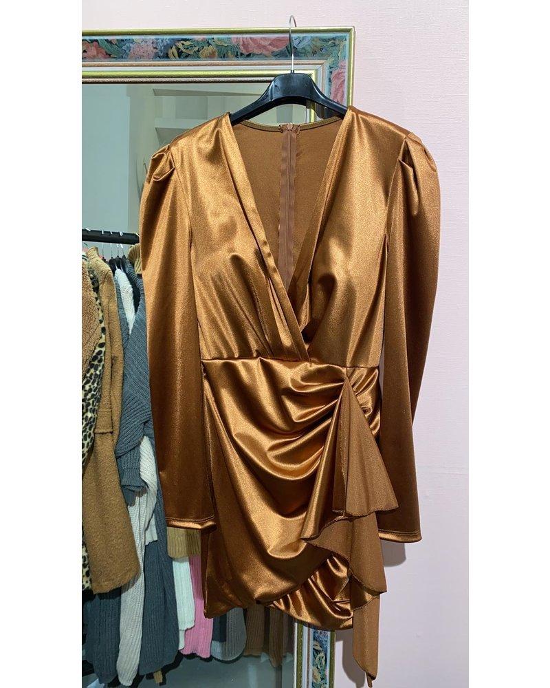 Satin V Neck Dress - Bronse