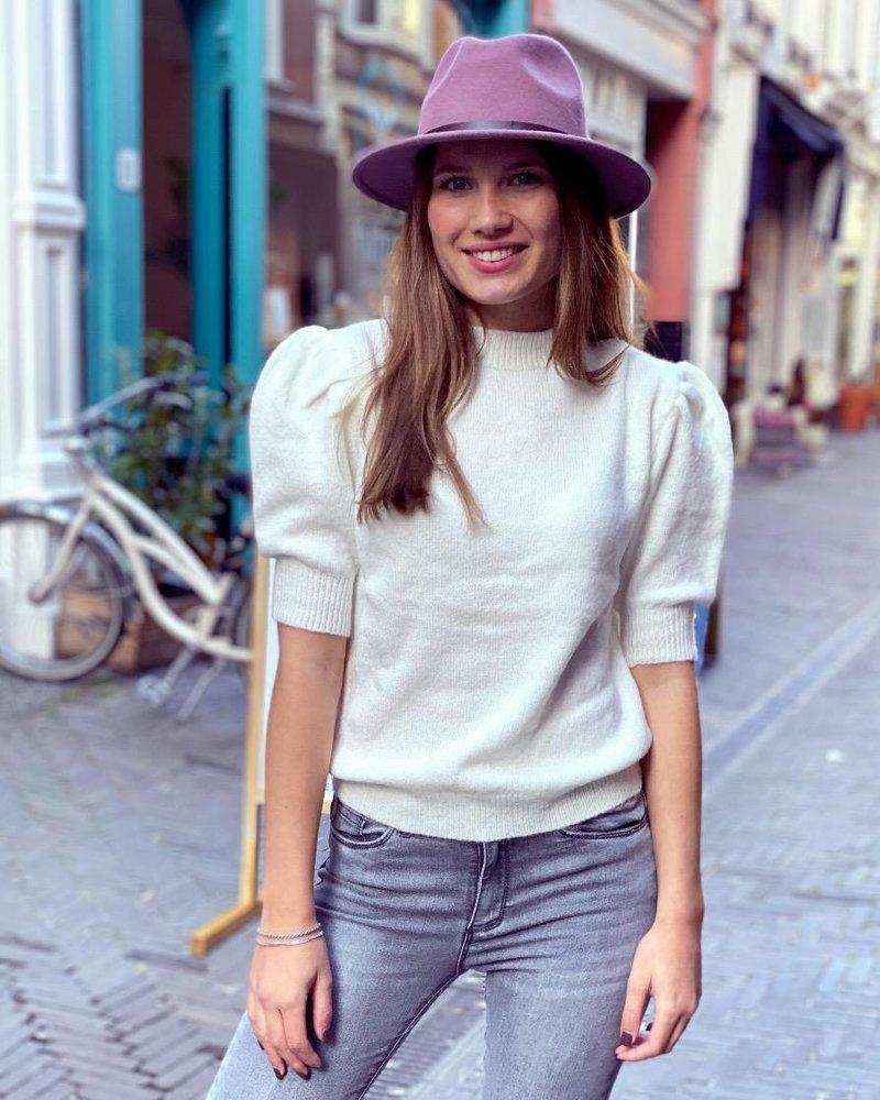 Puffy Short Sleeve Sweater -White