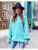 Cozy Round Neck Sweater - Turquoise