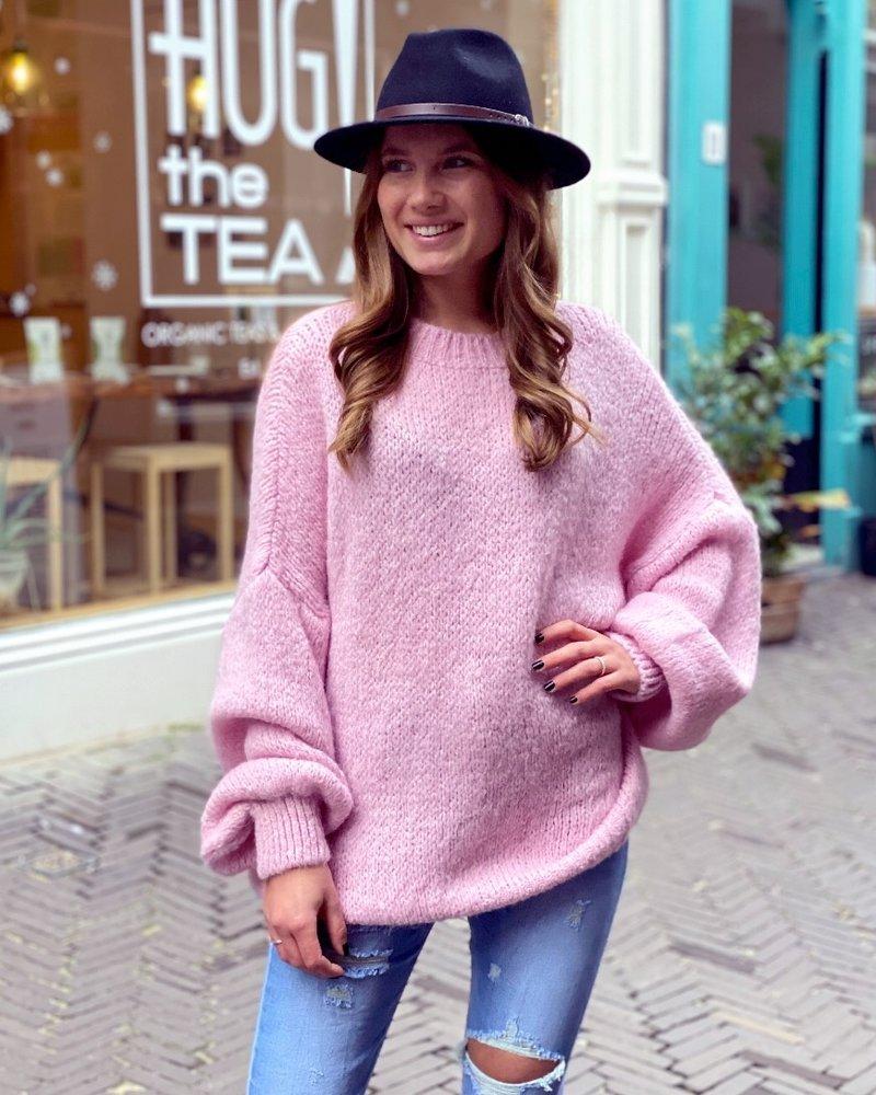 Cozy Round Neck Sweater - Pink