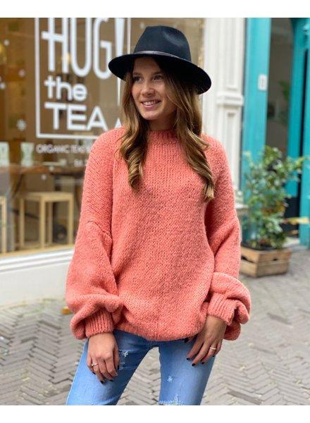 Cozy Round Neck Sweater - Peach