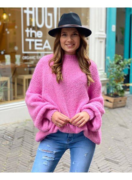 Cozy Round Neck Sweater - Bright Pink