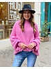Cozy Round Neck Sweater - Bright Pink