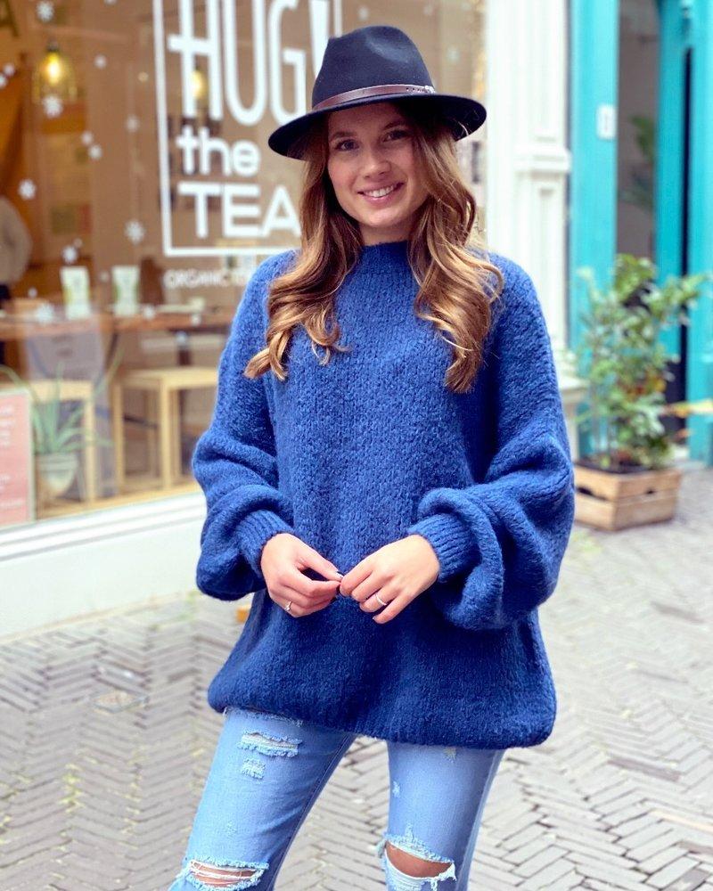 Cozy Round Neck Sweater - Navy