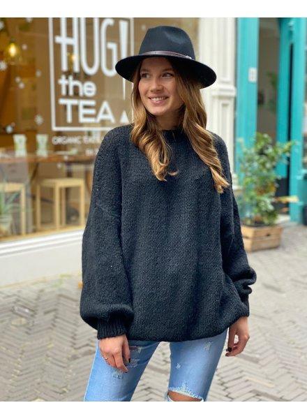 Cozy Round Neck Sweater - Black