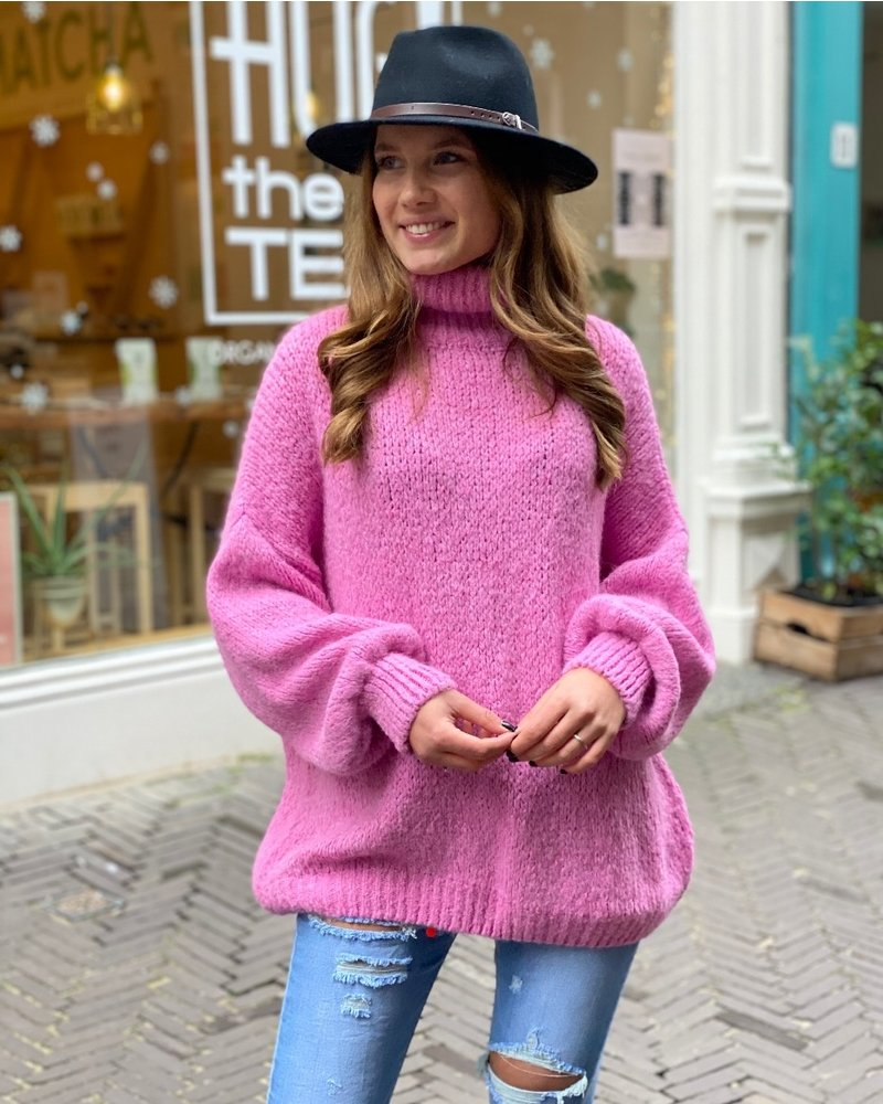 Cozy Col Sweater - Bright Pink
