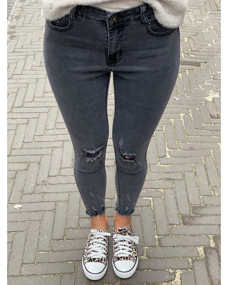 Ripped High Waist Jeans - Dark Grey