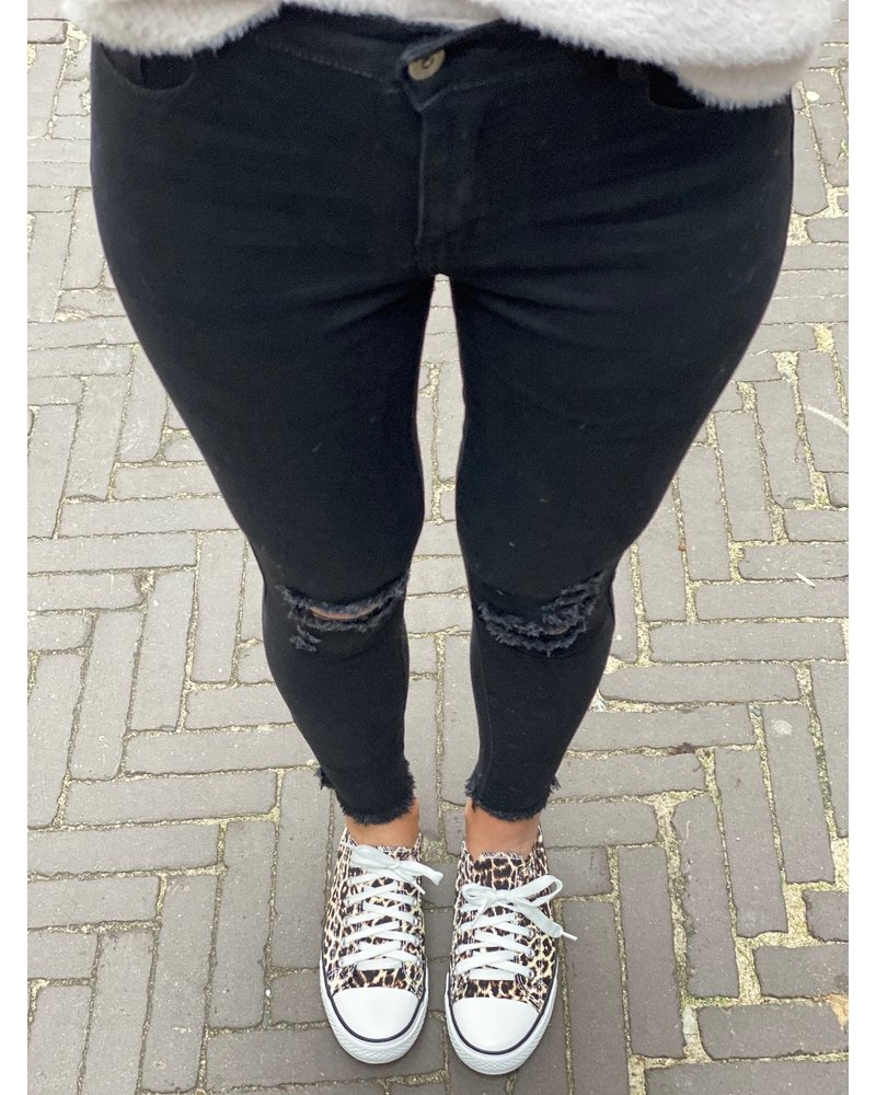 Ripped High Waist Jeans - Black
