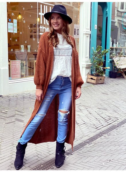 Long Knitted Vest - Brown