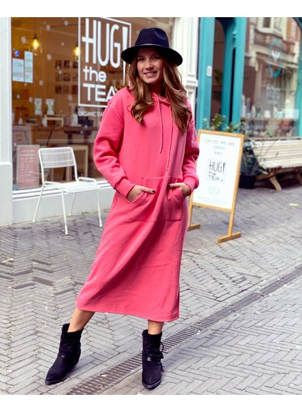 Comfy Hooded Dress - Coral
