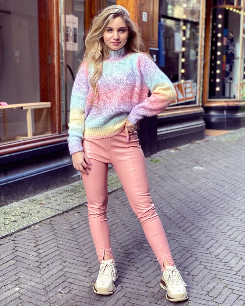 Emily Leather Split Legging - Pink
