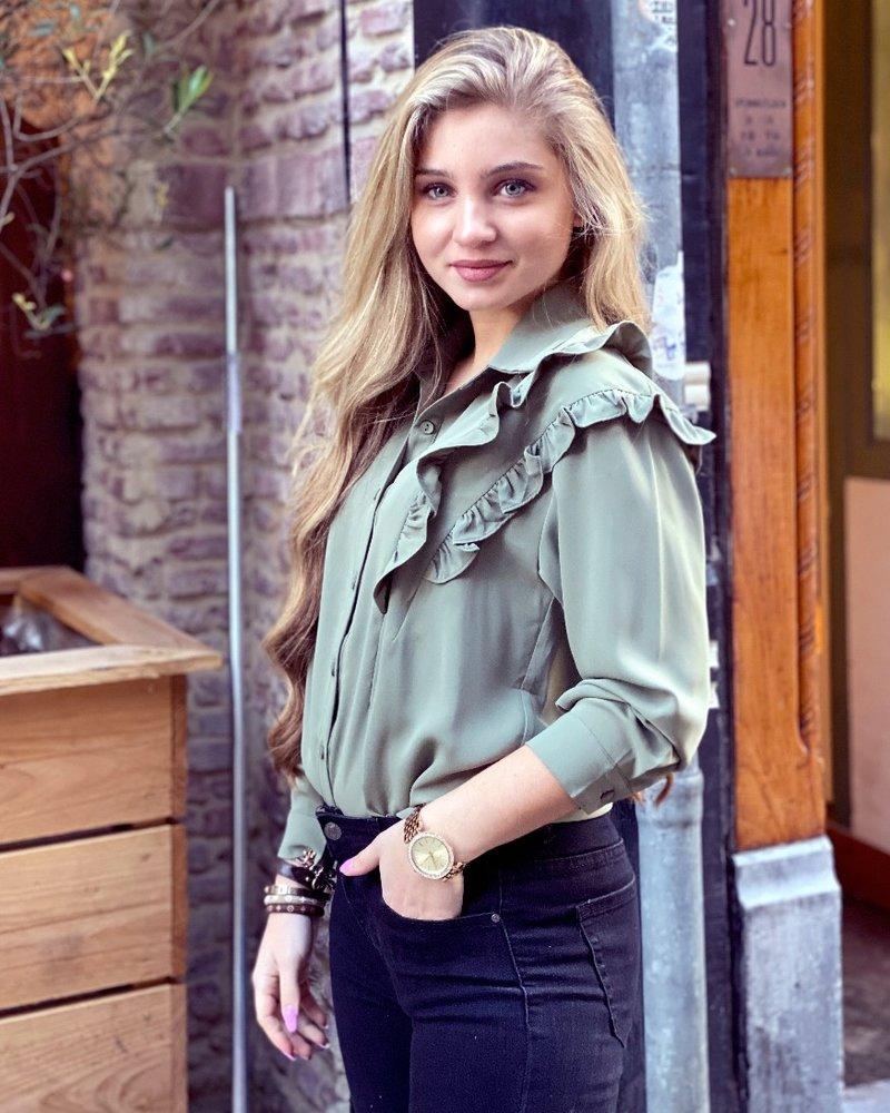 Beau Ruffle Blouse - Army Green