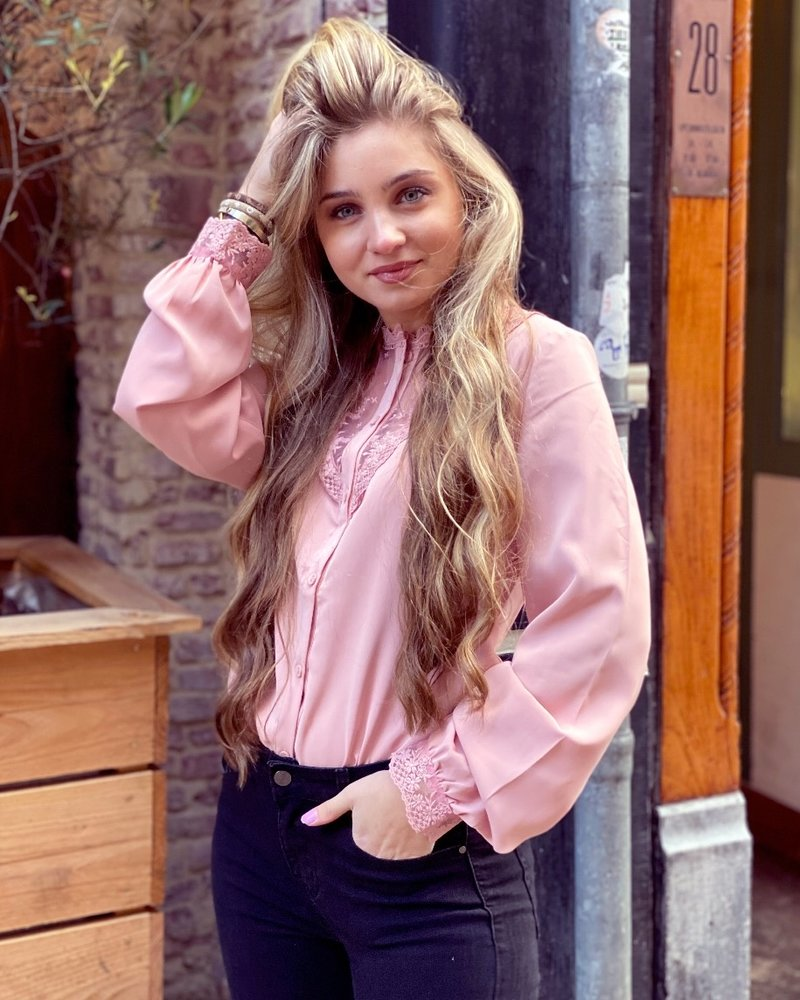 Lauren Lace Blouse - Light Pink