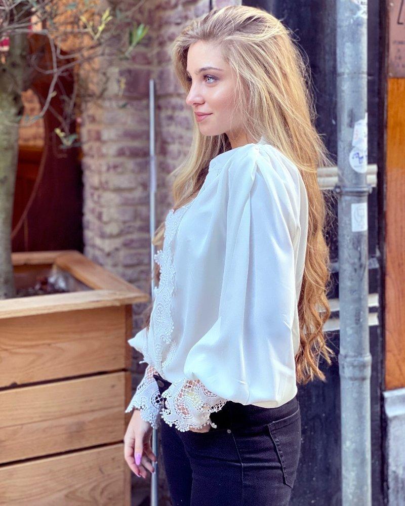Liz Ruffle Lace Blouse - White