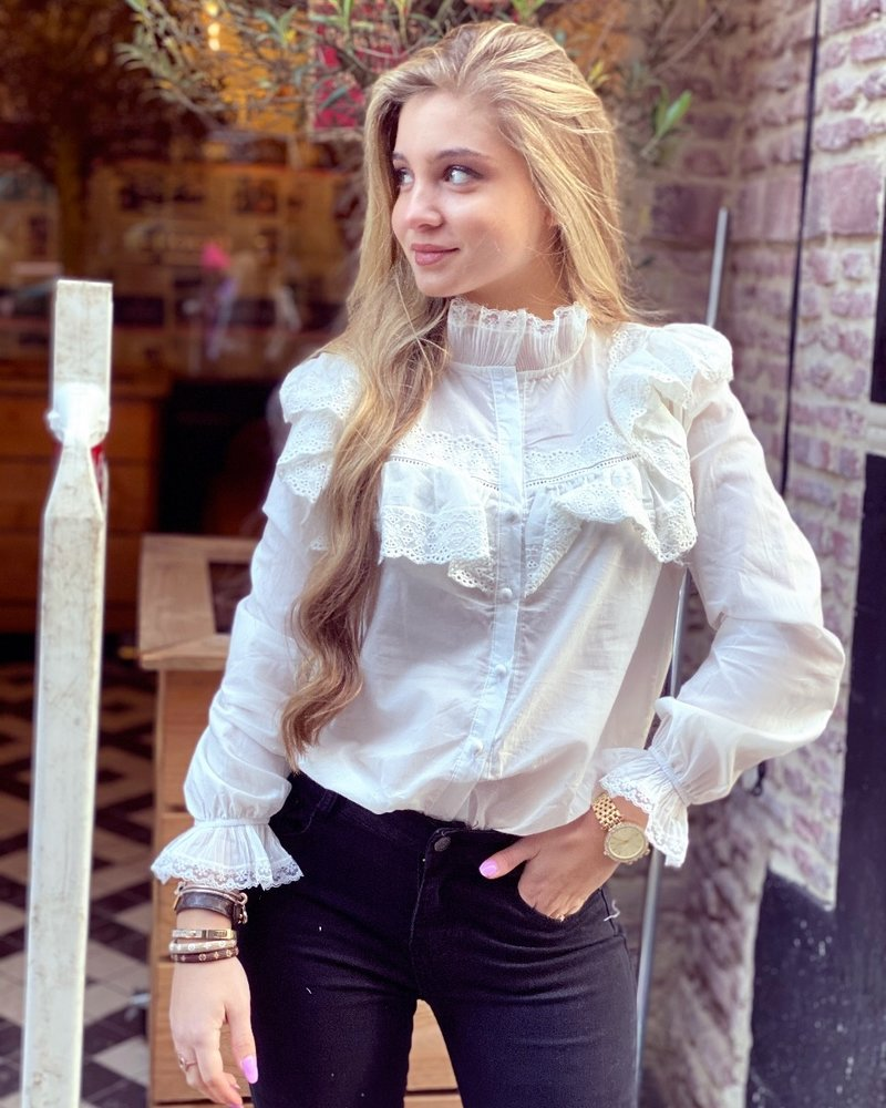 Luna Lace Blouse - White