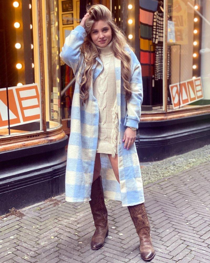 Chloe Checkered Coat - Lightblue