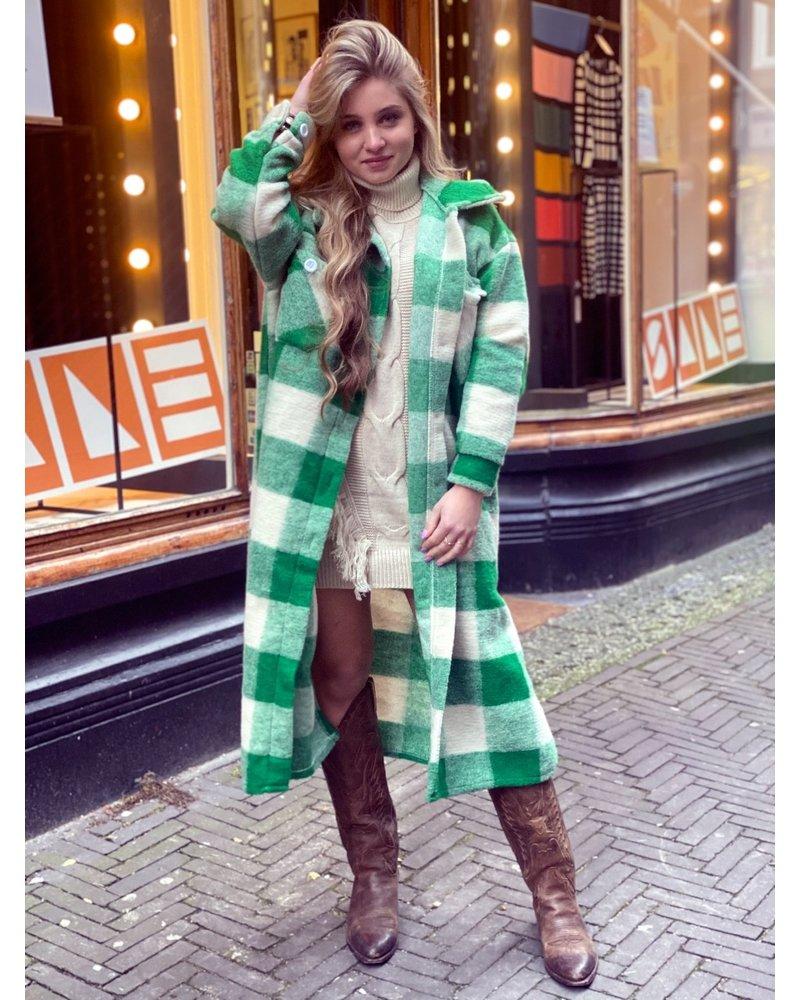 Chloe Checkered Coat - Green