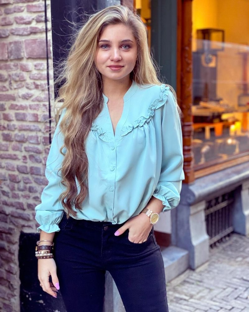 Charlie Ruffle Blouse - Mint
