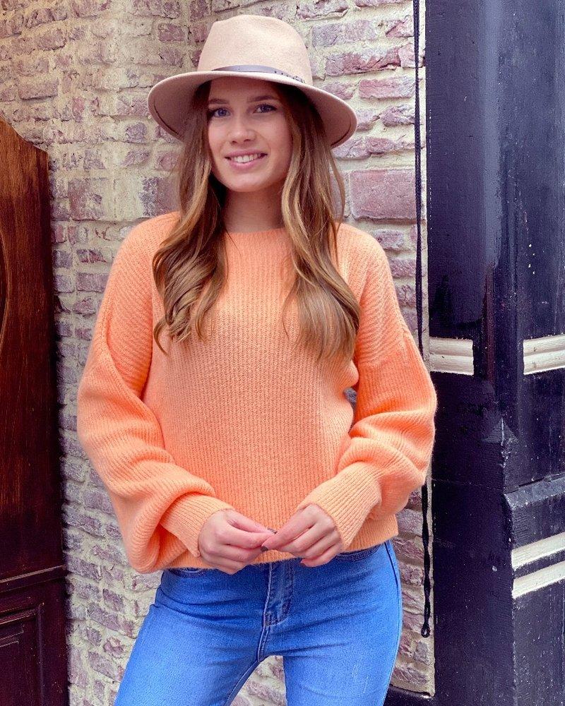 Lena Balloon Sleeve Sweater - Orange