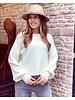 Lena Balloon Sleeve Sweater - White