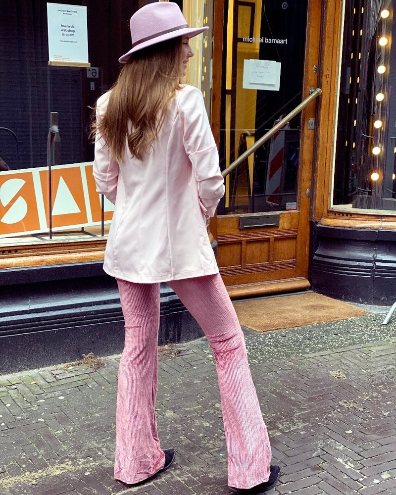 Velvet  Ribbed Flare -Pink