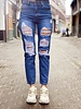 Lia Ripped Mom Jeans - Blue